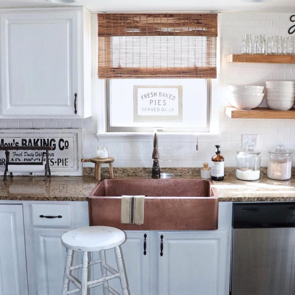 SINKOLOGY Lange Farmhouse Apron Front Pure Copper Sink 32