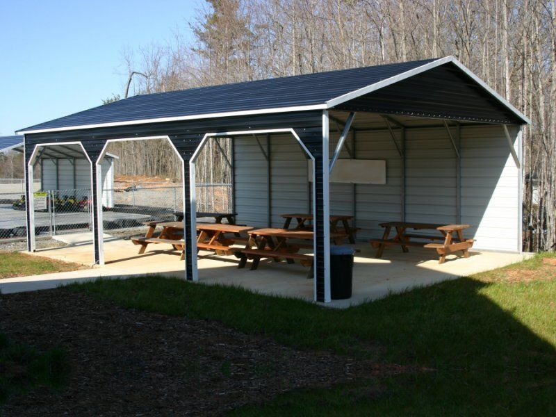 This Boxed Eave Style Carport Is Ideal As A Park Picnic Shelter Or For 3 Cars Trucks It Features Additional Cover Prefab Carport Metal Carports Diy Carport
