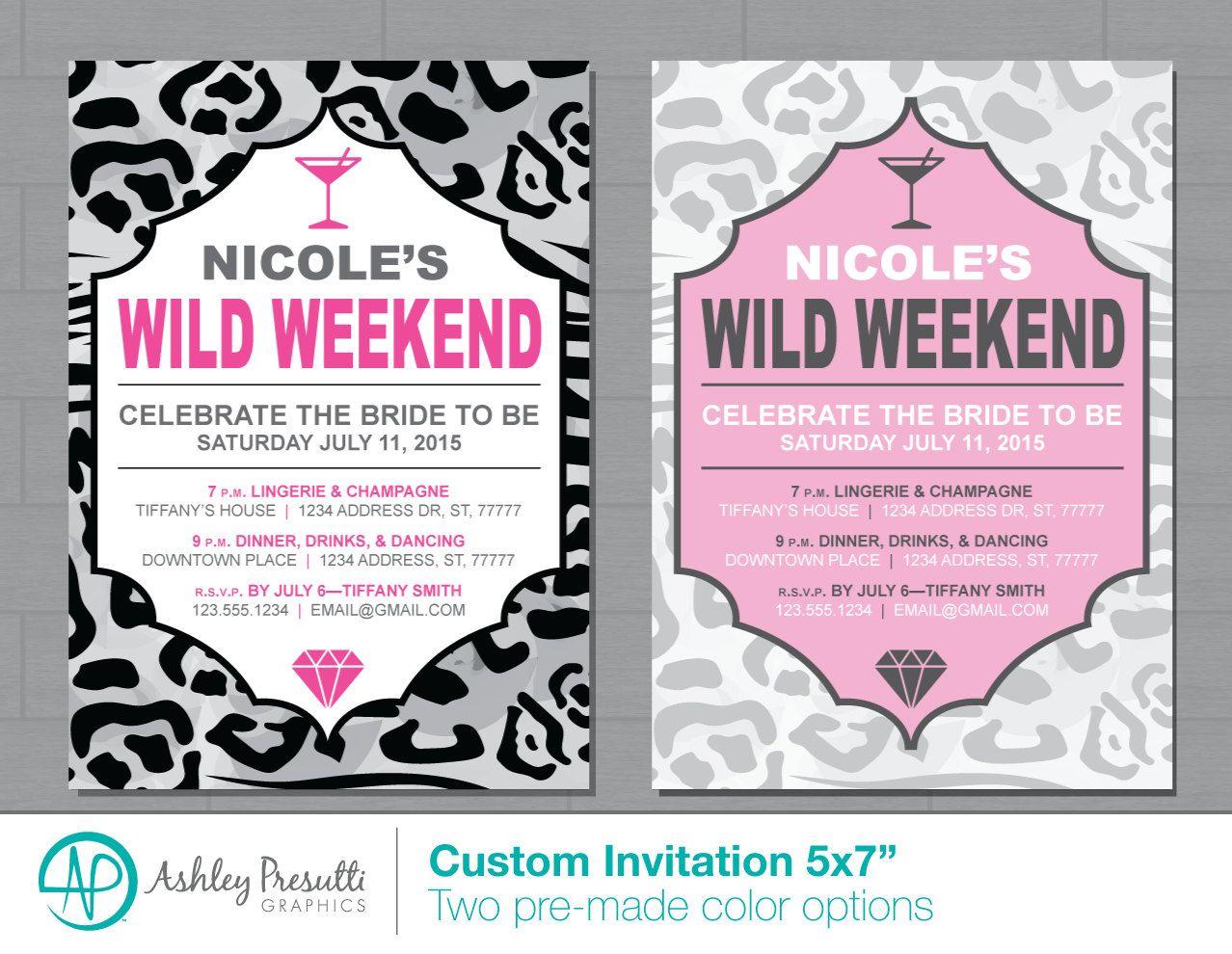 Wild Night Pink Cheetah Leopard Print Bachelorette Party Printable Invitations