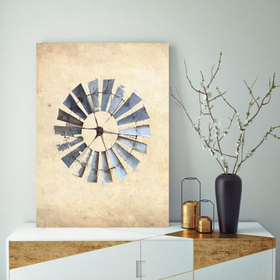 This rustic windmill canvas print makes a great piece of farmhouse