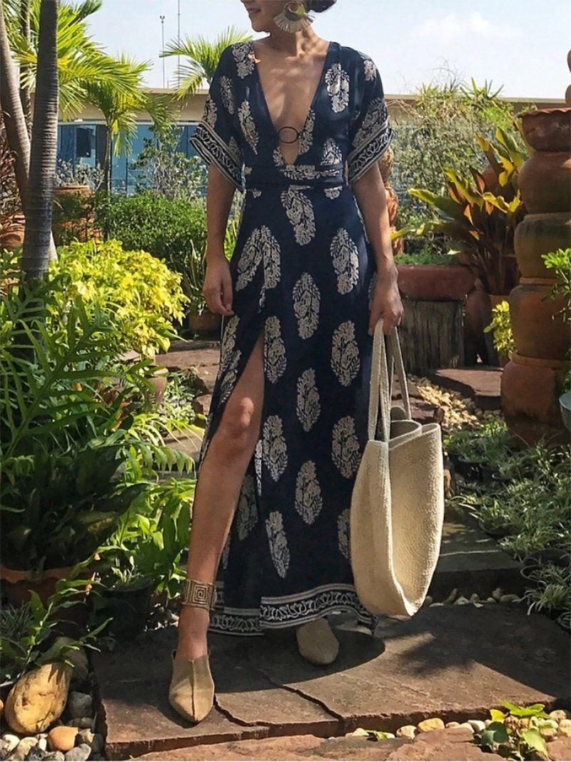 Elegant Deep V Neck Short Sleeve Printed Colour Dress Colorful Dresses Vacation Dresses Casual Weekend Dresses [ 1067 x 800 Pixel ]