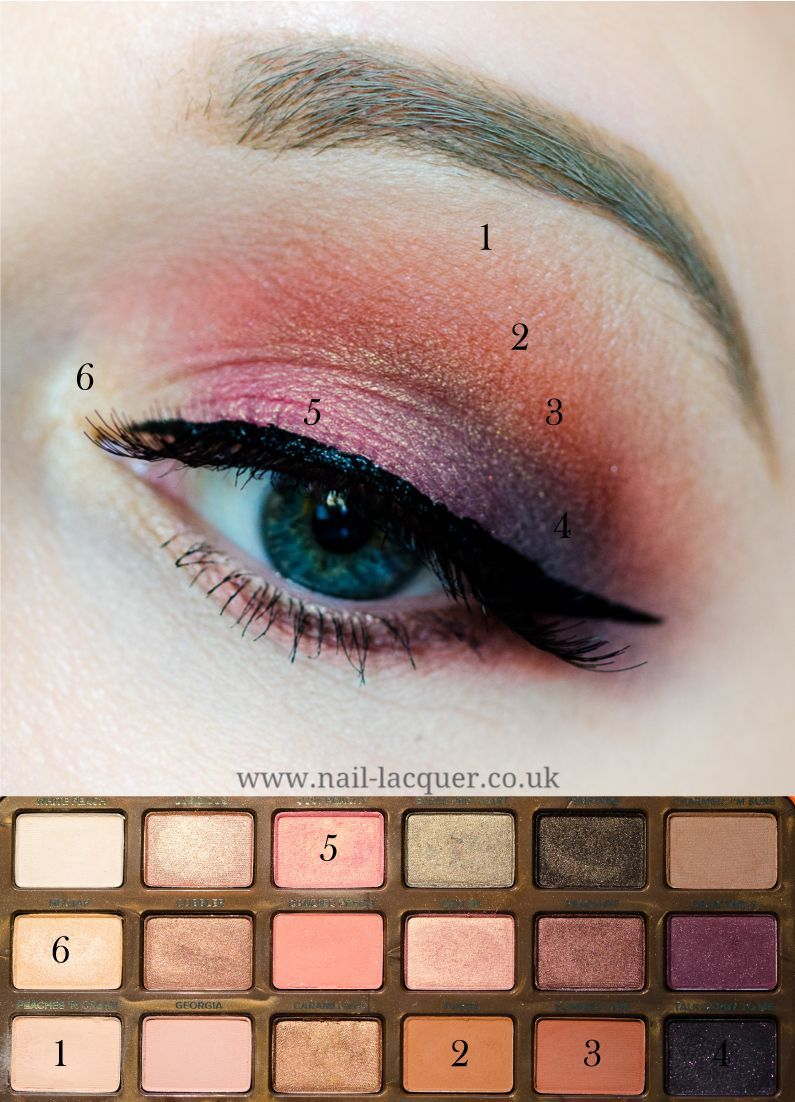 Too Faced Sweet Peach eye look tutorial Nail Lacquer UK
