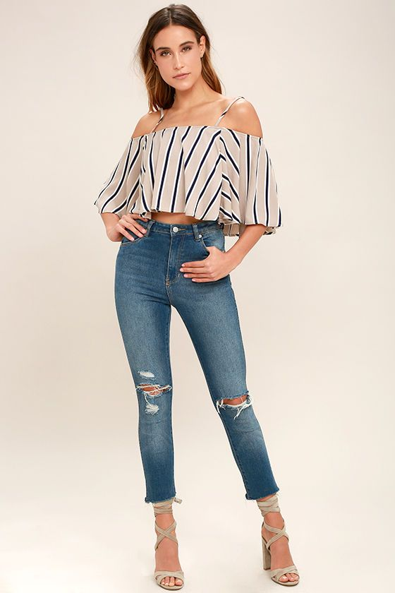 8480df6a2a The Always Welcome Taupe Striped Off-the-Shoulder Top will keep you coming  back