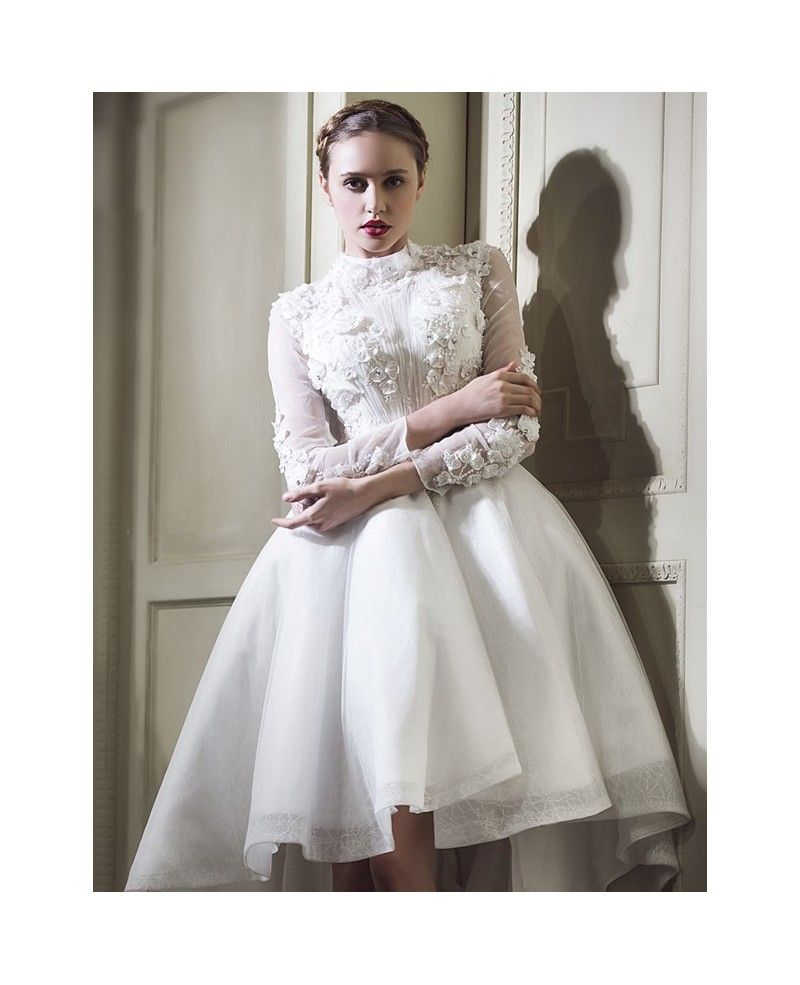 Classy lace high low wedding dresses with sleeves aline high neck