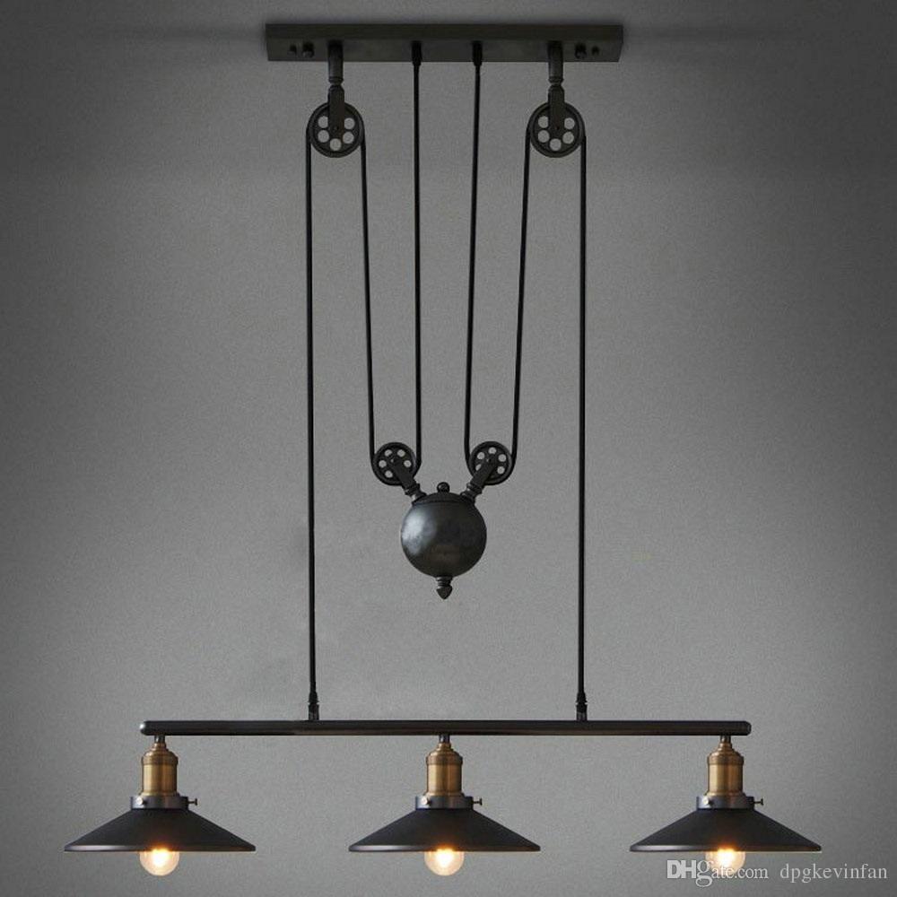 Vintage Pendant Lights Fixtures Loft Style Hanglamp Pulley Retro Lamp Black Metal Industrial Lighting Bedroom Dining Room Bar Lights Hanging Light Hanging From Pulley Pendant Light Vintage Pendant Lighting Vintage
