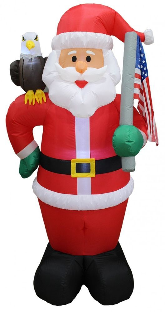 Christmas Santa Patriotic Airblown Inflatable 6 Ft Yard Lighting - christmas blow up decorations