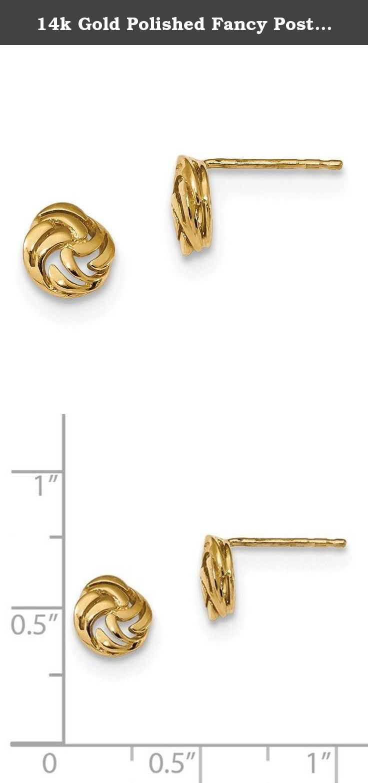 14k Gold Polished Fancy Post Earrings. Product Description Material: Primary - Purity:14K Finish:Polished Length of Item:7 mm Feature:Solid Material: Primary:Gold Product Type:Jewelry Jewelry Type:Earrings Sold By Unit:Pair Material: Primary - Color:Yellow Earring Closure:Post & Push Back Earring Type:Love Knots Items per Pack:2.