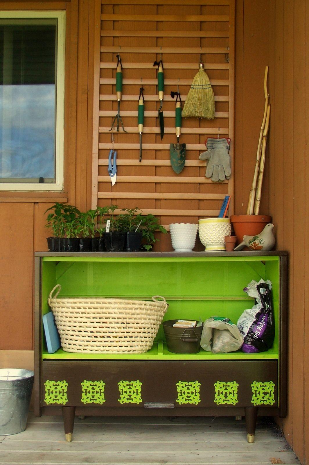 repurposed dresser and crib side rail for my new garden work station ...