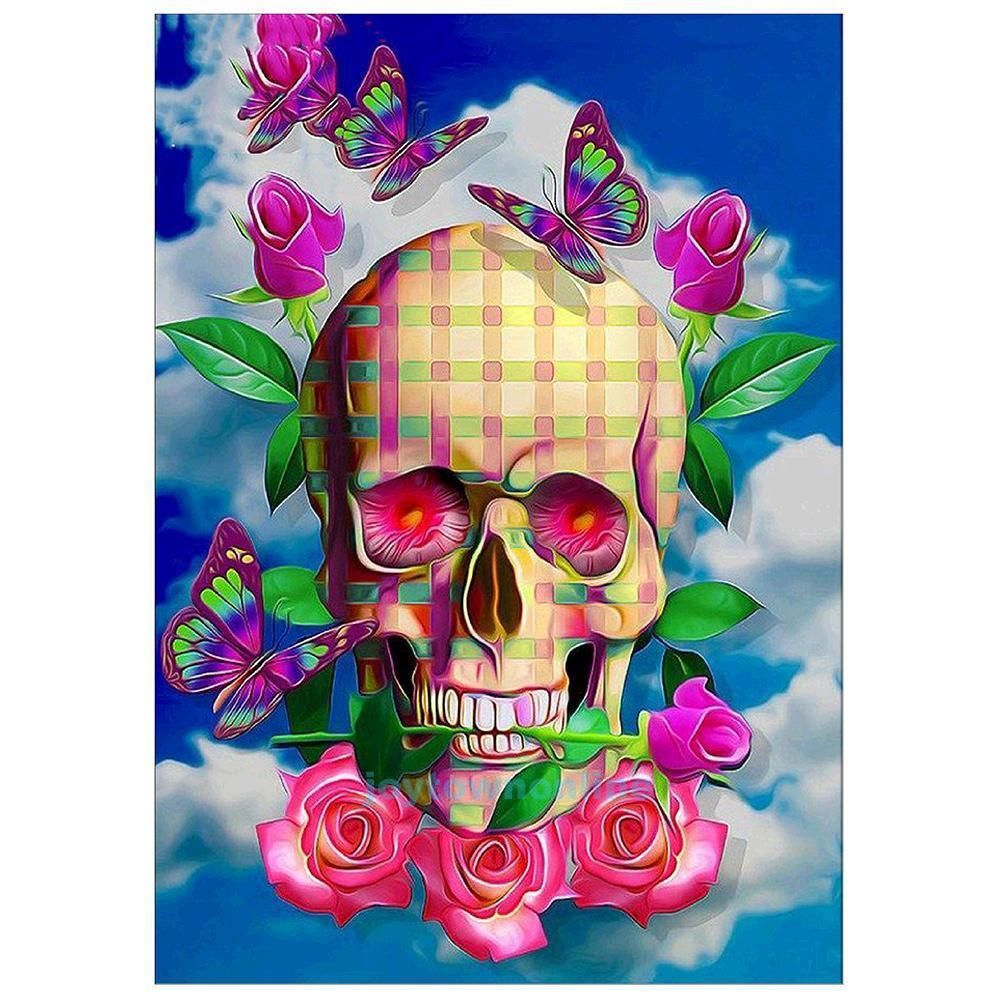 5D DIY Diamond Painting Embroidery Skull Butterfly Cross-Stitch Craft Home Decor