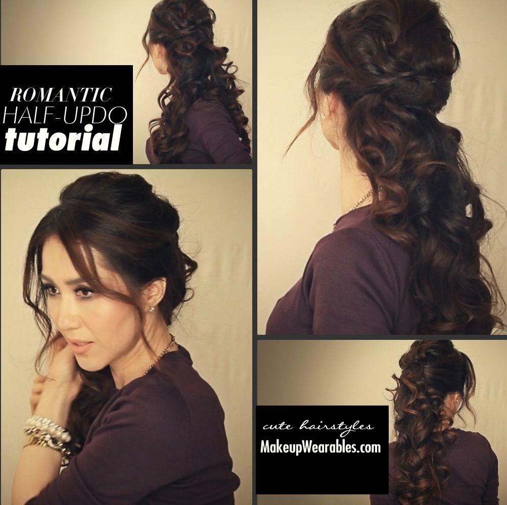Easy Fancy Looking Curly Half Up Hairstyle Long Hair Tutorial Video Hair Styles Romantic Curls Long Hair Styles