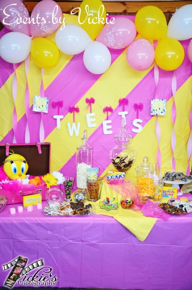 Tweets Dessert Buffet Tweety Bird Baby Shower Christina S Cakes