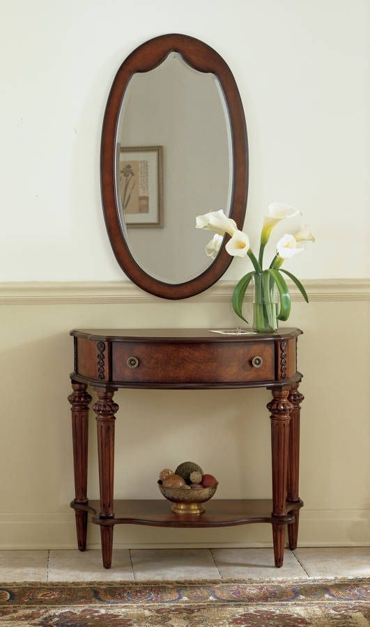 Plantation Cherry Halifax Traditional Dark Brown Console Table