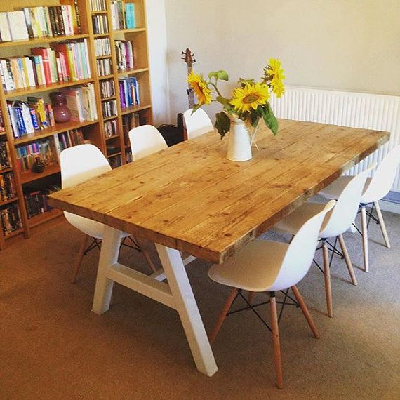 Reclaimed Industrial Chic A Frame 6 8 Seater Dining Table White