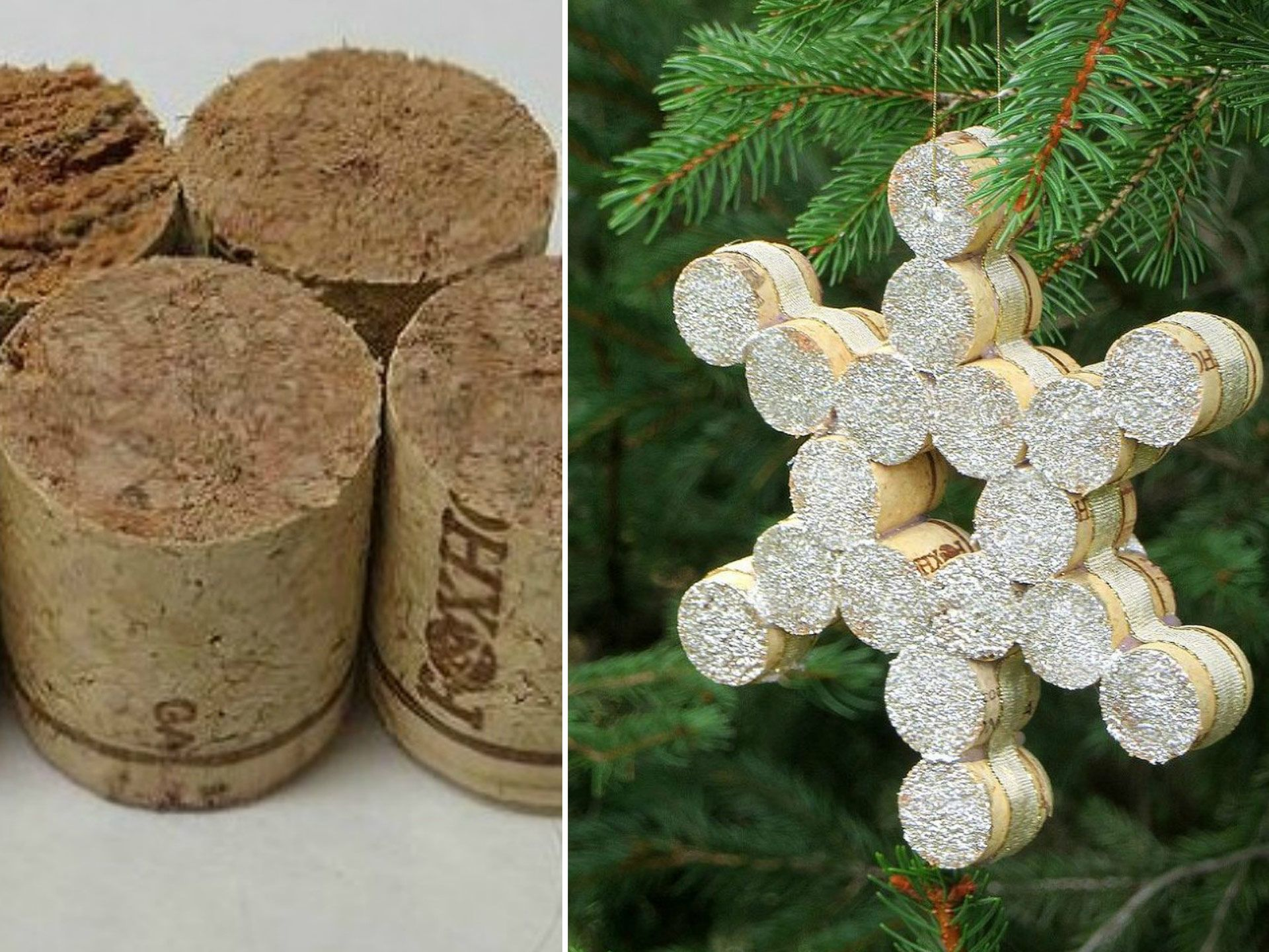 Ornaments made from wine corks - 55 Christmas Tree Ornaments Made From Stuff Lying Around Your House