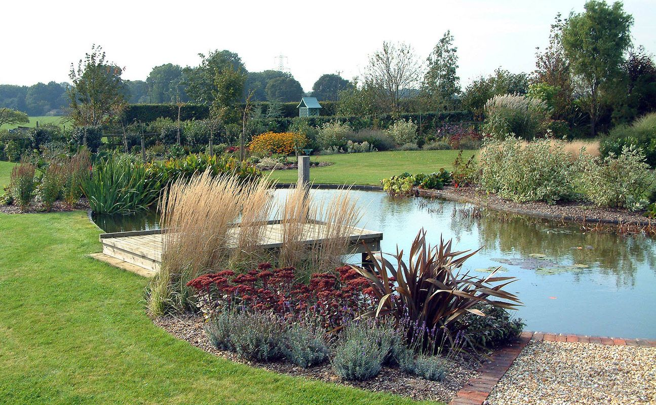 Easy landscape for a large pond large pond and plantings for Garden and pond
