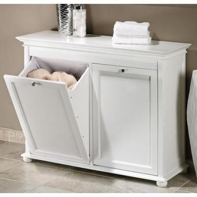 Home Decorators Collection Hampton Bay 35 In W Tilt Out Hamper Double In White