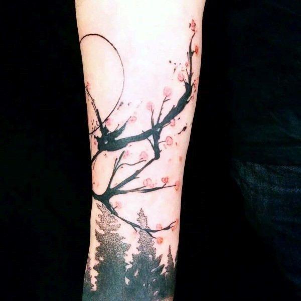 Abstract Cherry Blossom Tree Flower Tattoos For Men On Forearm Cherry Tree Tattoos Tree Tattoo Men Cherry Blossom Tattoo