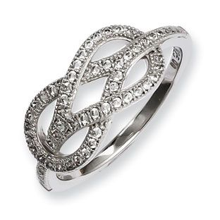 925 Sterling Silver Cz Love Knot Ring Sterling Silver Jewelry