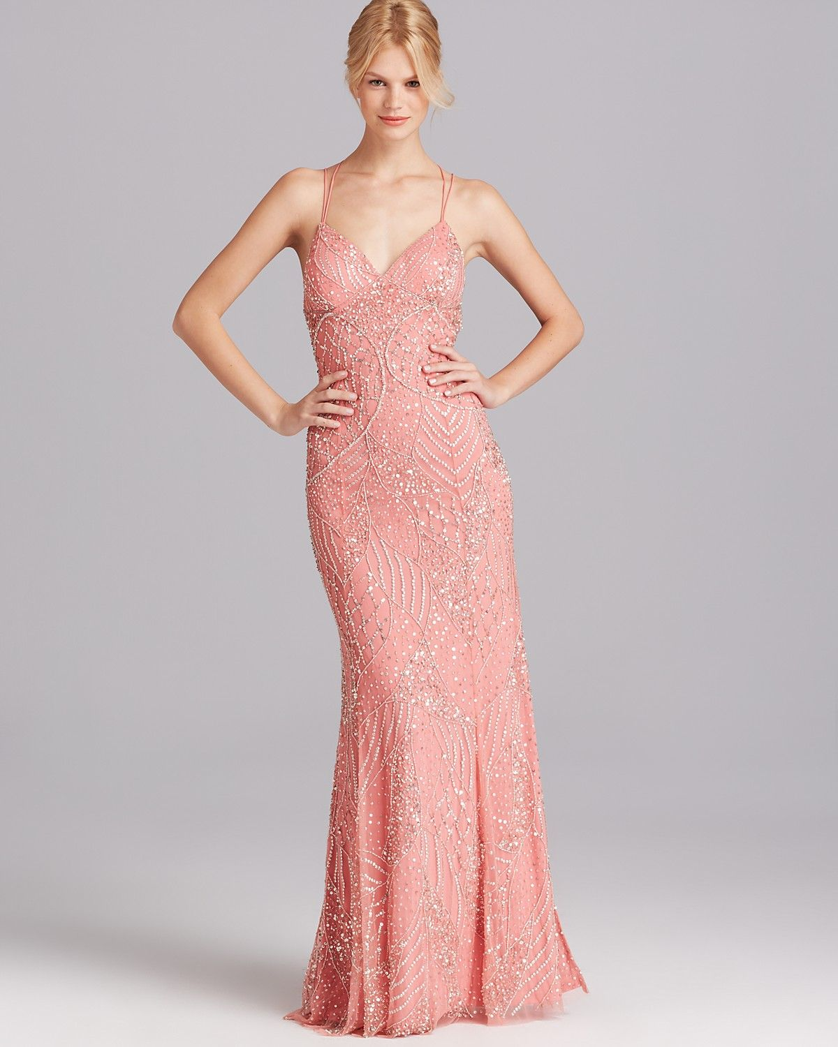 Adrianna Papell Gown Spaghetti Strap Beaded Open Back Women Bloomingdale S Gowns Coral Bridesmaid Dresses Glam Dresses [ 1500 x 1200 Pixel ]