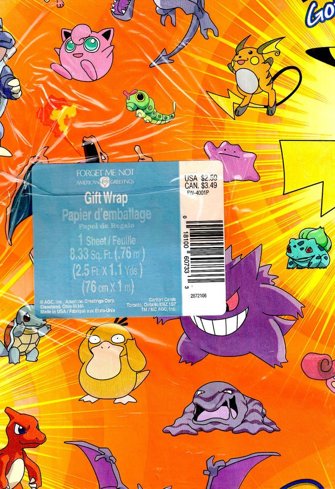 nip pokemon wrapping paper from american greetings | for my grands