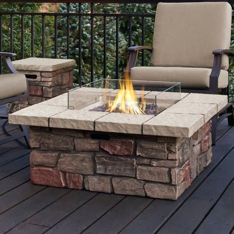 Concrete Propane Natural Gas Fire Pit Table Atworth Lowes Real