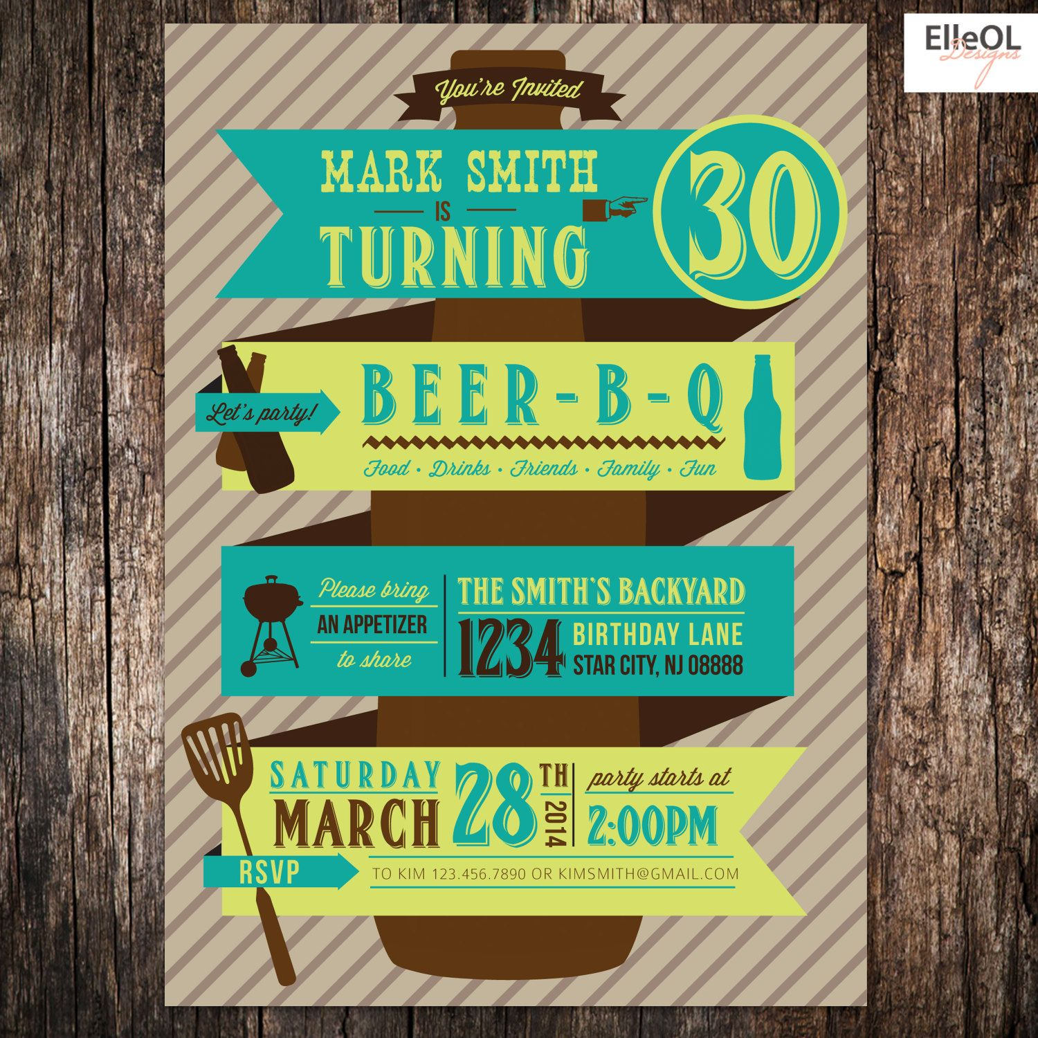 Beer BBQ 21st 30th 40th 50th Birthday Party Invitation By