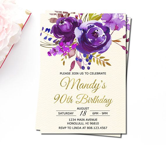 90th Birthday Invitations For Women Purple Floral Invitation Surprise Gold Foil Personalized Printable A73