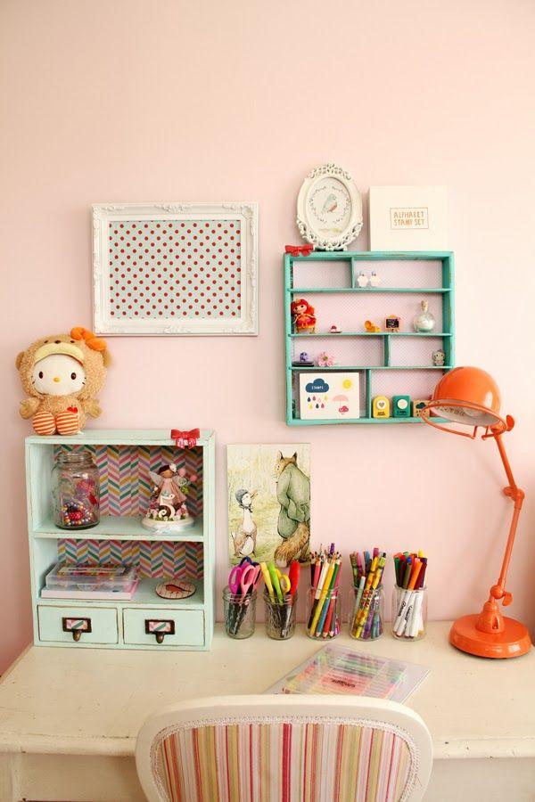 Cute office space. tangerine, orange, peach, teal, green, cream, ivory