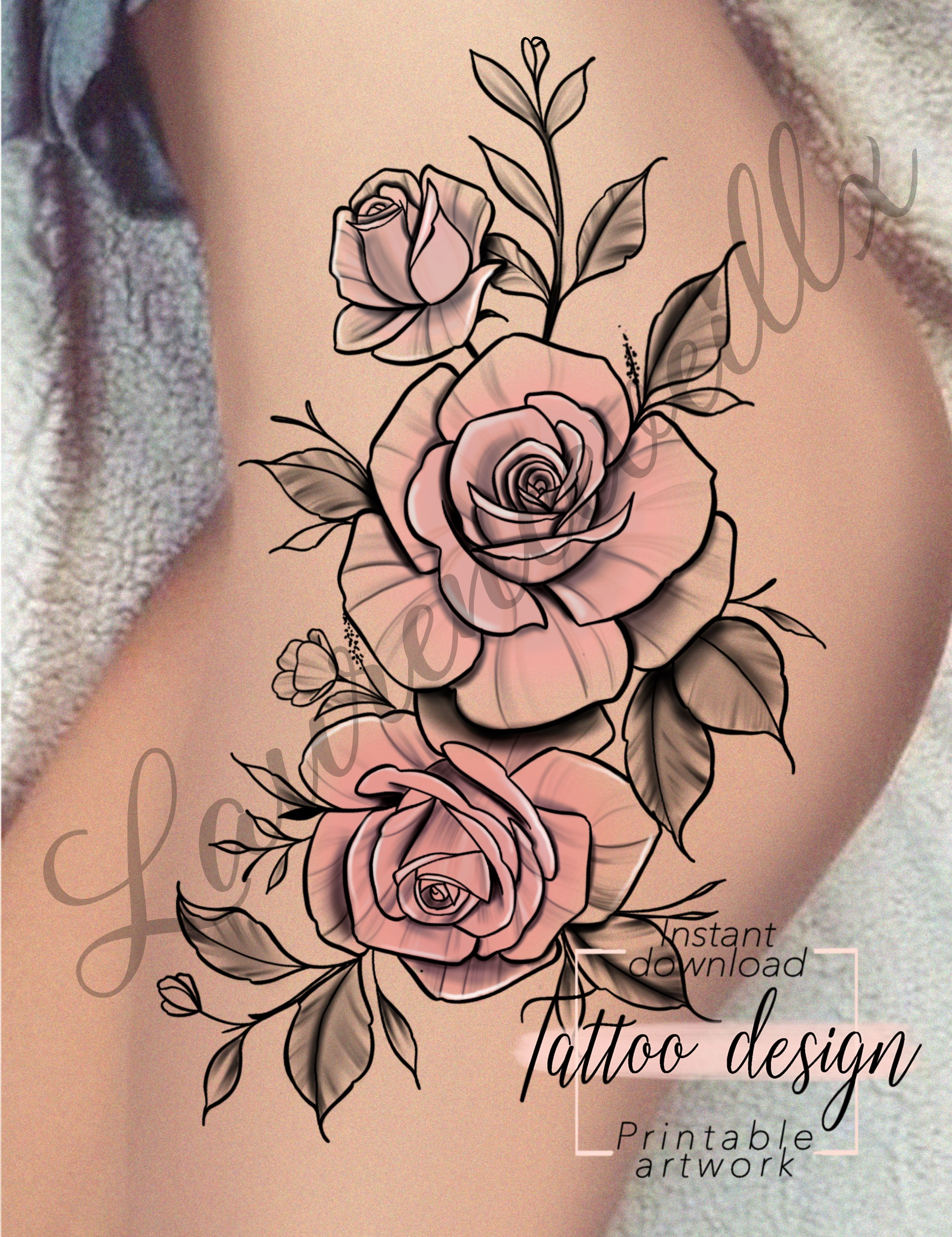 Etsy Printable Roses Hips Thigh Tattoo Design Instant Download In 2020 Hip Thigh Tattoos Thigh Tattoo Designs Thigh Tattoo
