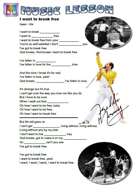 Queen I Want To Break Free Music Lesson For Esl Students Http