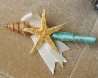Little Beach Starfish and Seashell Wedding Boutonniere - Your Choice of Accent Color