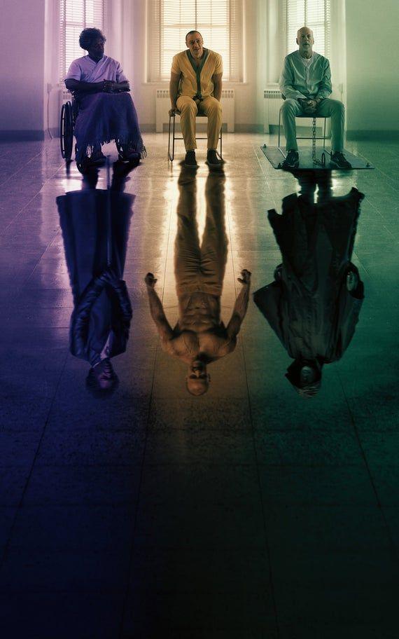 Glass 2019 Bruce Willis James McAvoy Samual L. Jackson Movie Poster Wall Art Home Decor Print