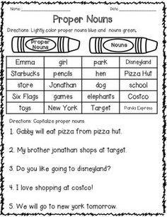 Common vs. proper nouns | Set of printables for kids learning ...