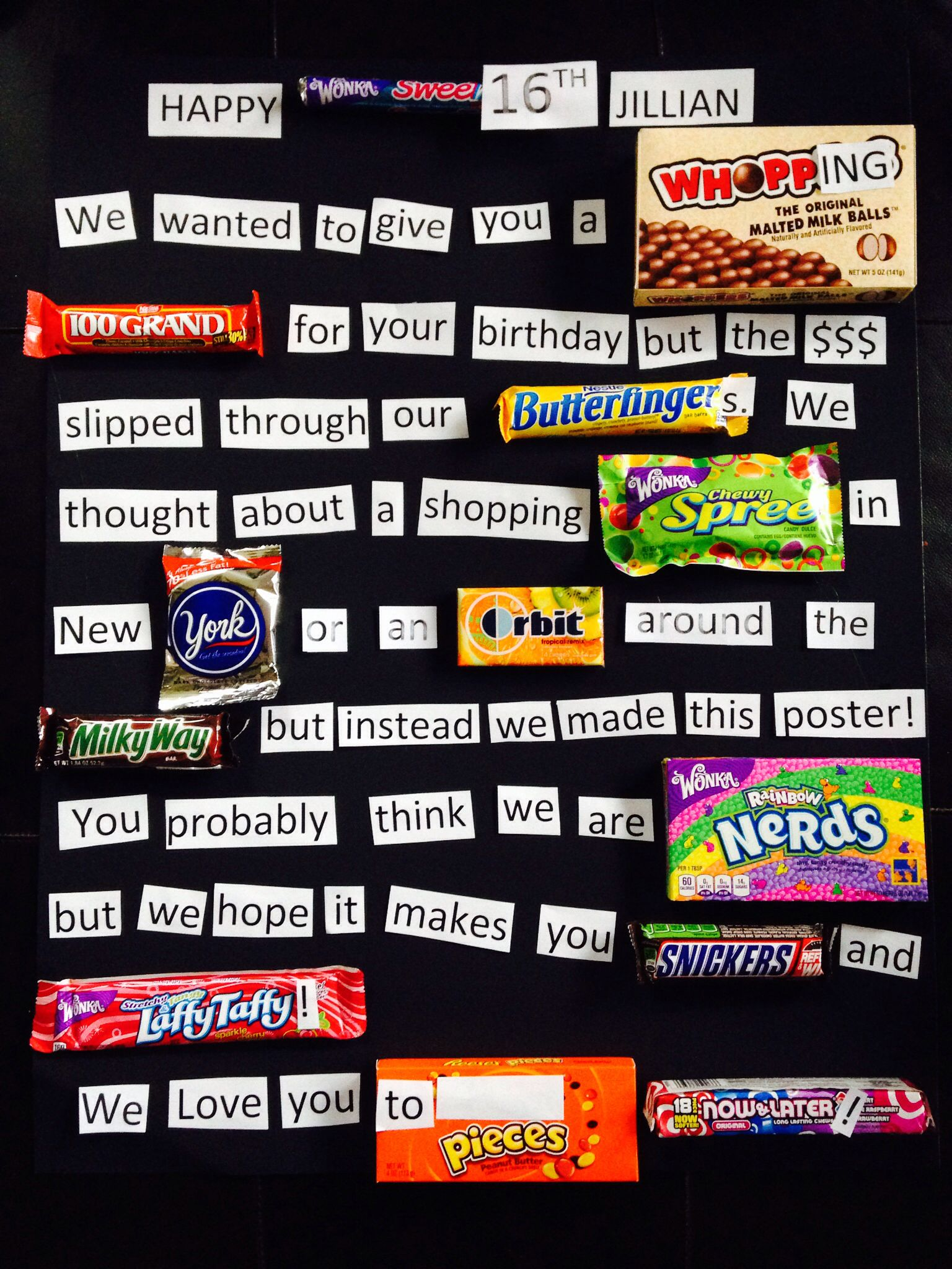 Sweet 16 Candy Bar Poster made for my Jillian Just because