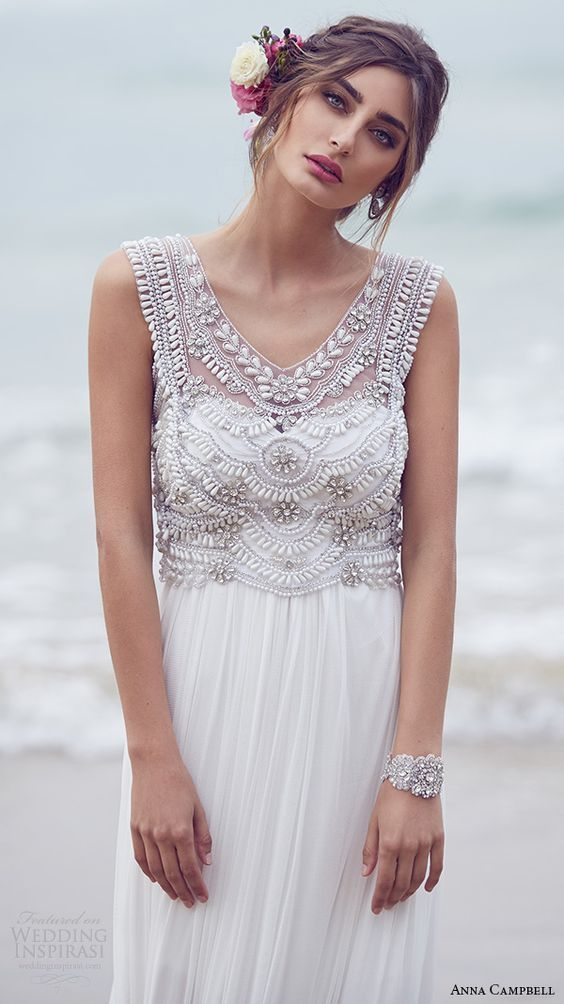 18f372d3ceb 2016 Summer Beach Chiffon Wedding Dresses A-Line Crystal Bohemian Bridal  Gowns