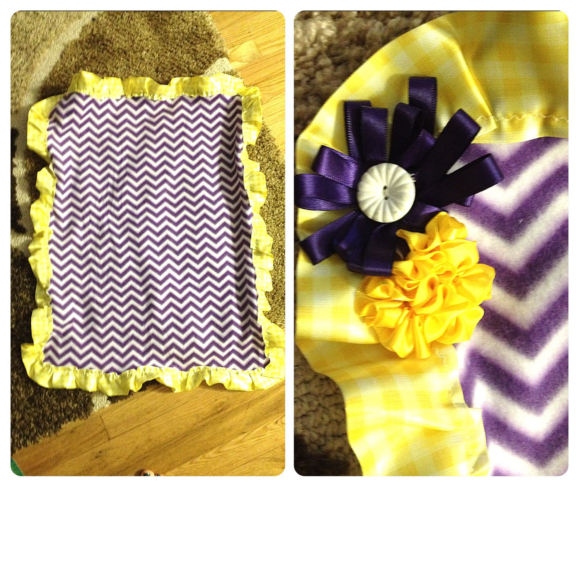 Fleece And Silky Binding Baby Blanket With Ribbon Flowers