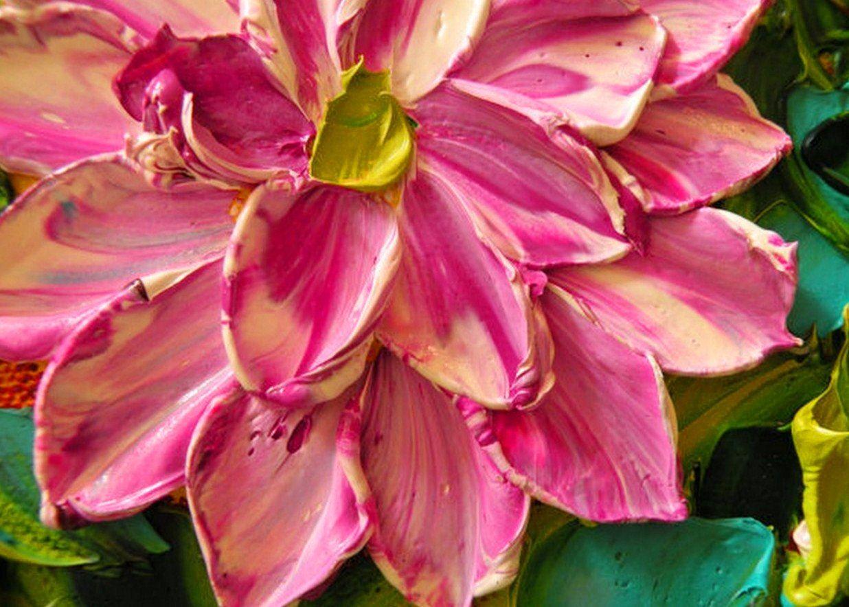 Cuadros de flores con relieve pinturas de flores con for Cuadros rectangulares grandes