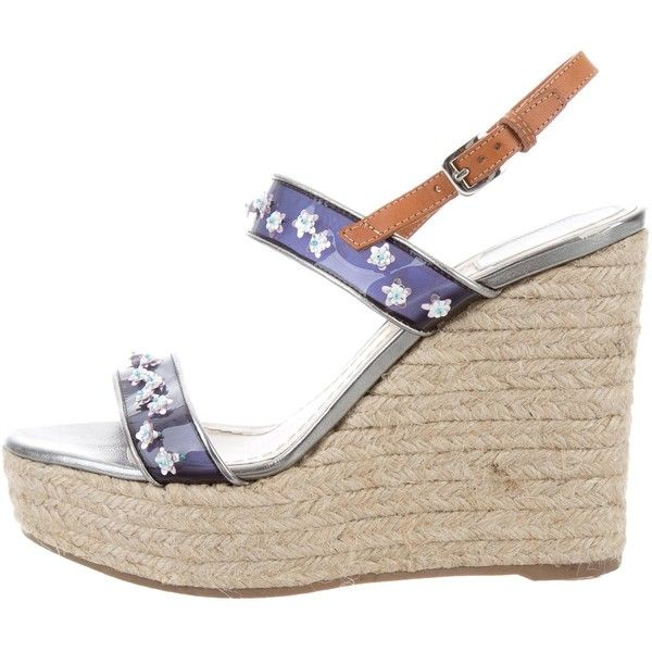 c837e0381d3 Pre-owned Christian Dior Embellished Espadrille Wedges ($175 ...