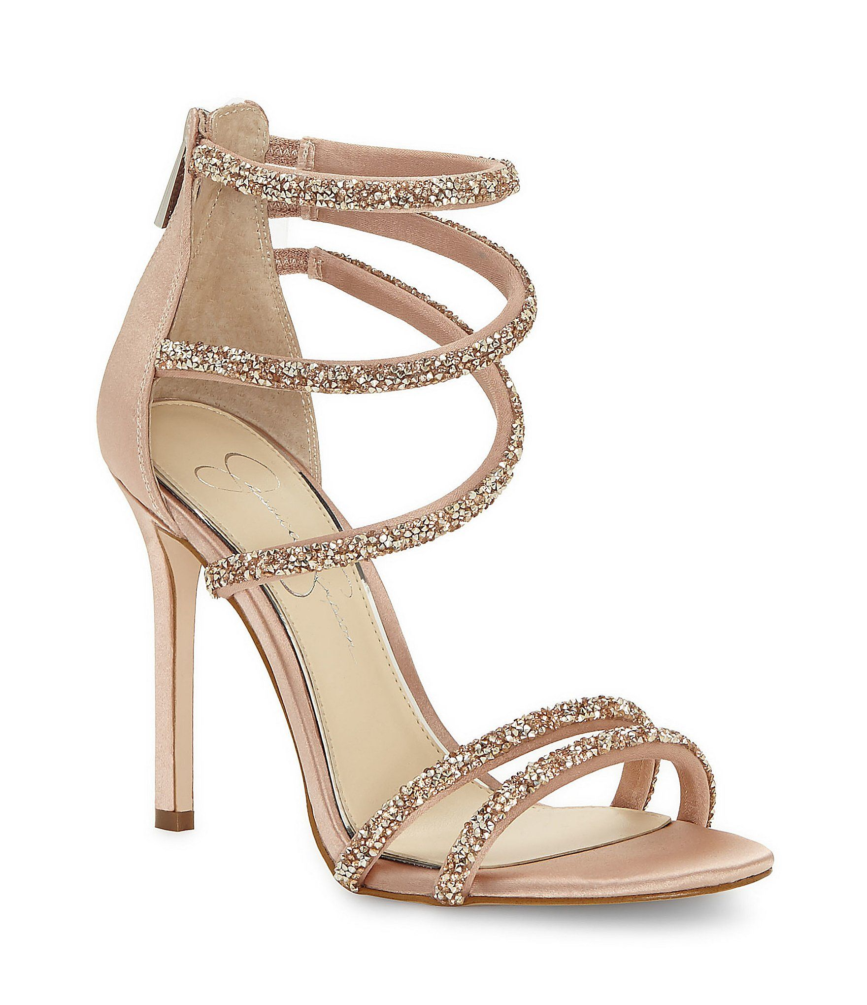 Jessica Simpson Jamalee Caviar Rhinestone Ornamented Strappy Dress Sandals X90GthwE
