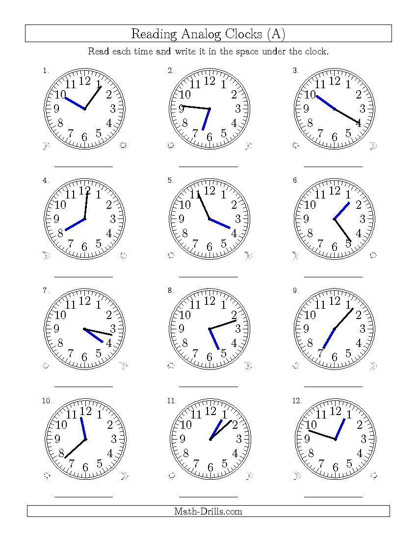 New 2015 04 09 Reading Time On 12 Hour Analog Clocks In 1 Minute