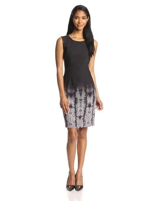 Elie Tahari Women's Emory Ombre Geneva Print Sheath Dress, Black/Multi, 4
