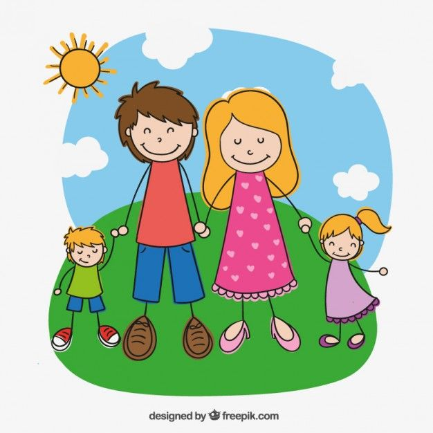 Family In Hand Drawn Style Free Vector Family Drawing Drawing
