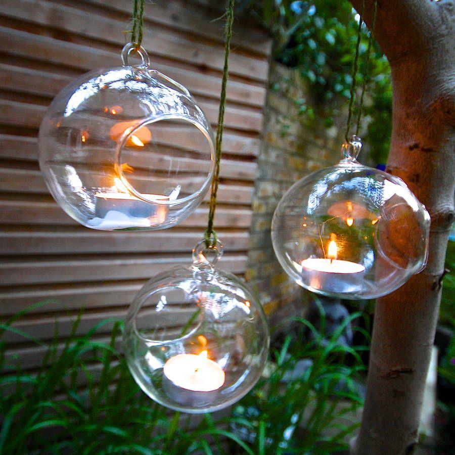 Outdoor Tea Light Holders Set of four noel hanging tealight votives london garden third and set of three hanging tealight bubbles by london garden trading notonthehighstreet workwithnaturefo