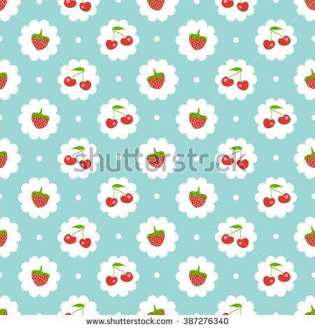Seamless pattern with sweet cherry and strawberries. Shabby chic style