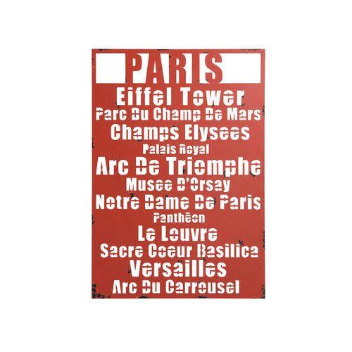 Déco murale métal rouge In love Paris