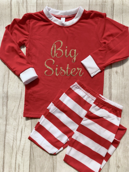 80e89726a5 Big sister personalised children s Pyjamas in white and red candy stripe.  Can wear all year round as breathable material and great for Christmas ...