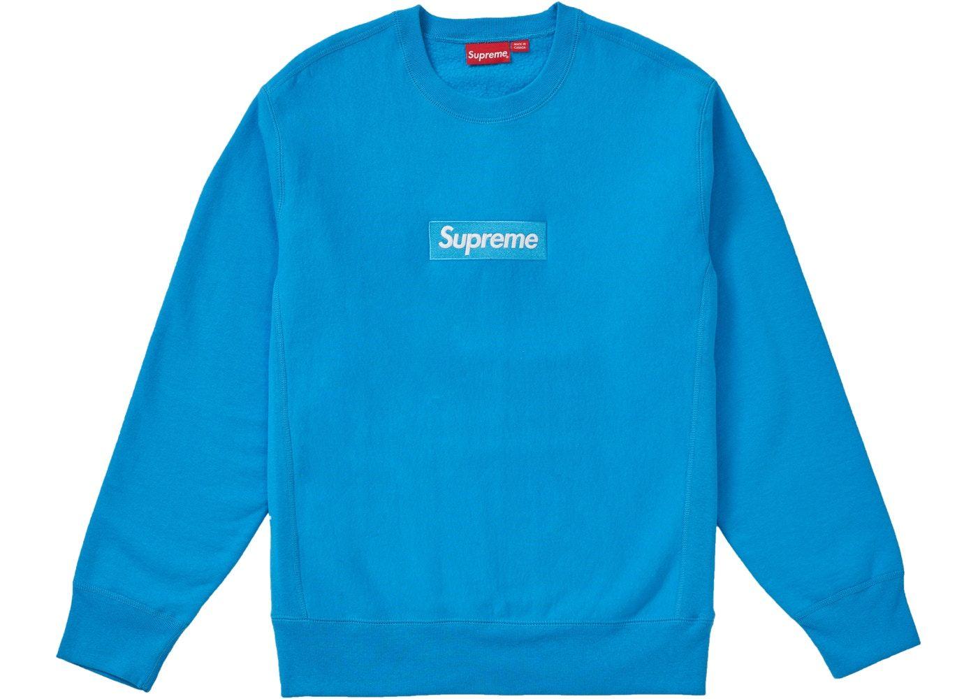 Supreme Box Logo Crewneck Fw18 Bright Royal Supreme Box Logo Hoodie Supreme Clothing Street Wear [ 1000 x 1400 Pixel ]