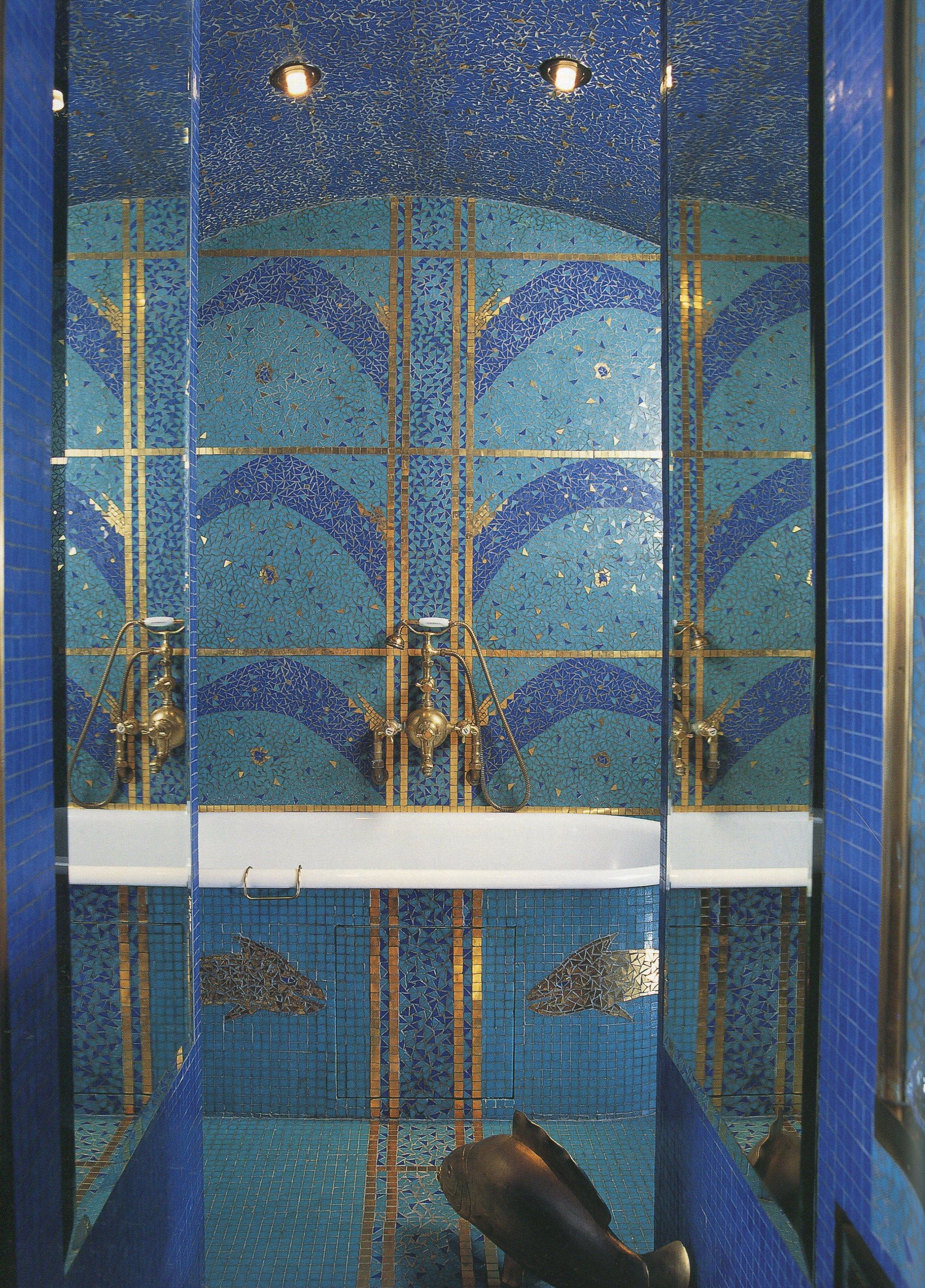 Bathroomblue And Gold Tiled Art Deco Sdb Pinterest Tile Art - Luxury-silver-and-gold-tiles-by-acquario