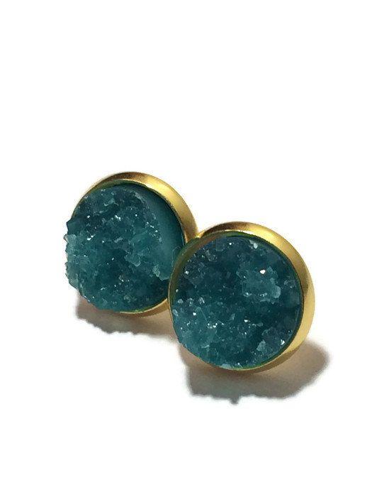 Druzy Studs- teal  Drusy studs, mint green, silver or gold- Bridesmaid jewelry 12mm DBKL106