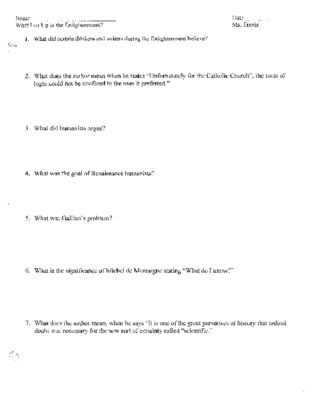 Age Of Enlightenment What Led Up To The Enlightenment Worksheet